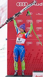 08.01.2012, Weltcupabfahrt Kaernten – Franz Klammer, Bad Kleinkirchheim, AUT, FIS Weltcup Ski Alpin, Damen, Super G, Podium, im Bild Tina Maze (SLO, Rang 2) // second Place Tina Maze of Slovenia on podium during ladies Super G at FIS Ski Alpine World Cup at 'Kaernten – Franz Klammer' course in Bad Kleinkirchheim, Austria on 2012/01/08. EXPA Pictures © 2012, PhotoCredit: EXPA/ Johann Groder