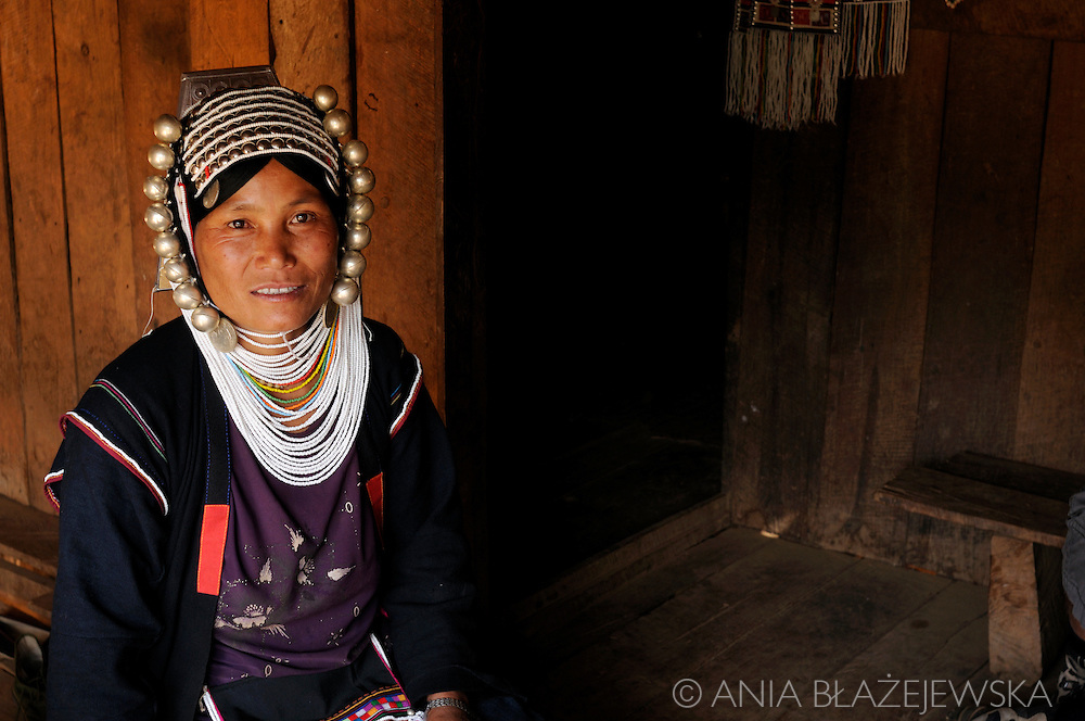 Burma/Myanmar. Portrait of Akha women - bible readre's wife in one of the christian villages of the Golden Triangle.