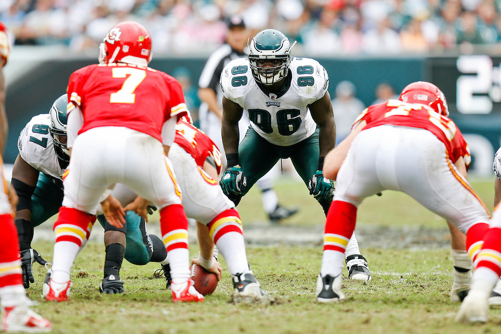 Philadelphia Eagles linebacker Omar Gaither #96 during the NFL game between the Kansas City Chiefs and the Philadelphia Eagles on September 27th 2009. The Eagles won 34-14 at Lincoln Financial Field in Philadelphia, Pennsylvania. (Photo By Brian Garfinkel)