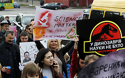 May 4, 2019 - Kiev, Kiev, Ukraine - Ukrainians are seen holding placards during the protest..Hundreds of Ukrainians took part in the protest of Science as a part of a global action in support of science, liberty of research and teaching and it took place on Saturday around the world. (Credit Image: © Pavlo Gonchar/SOPA Images via ZUMA Wire)