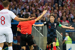 July 11, 2018 - Moscow, Russia - 180711 Luka Modric of Croatia react toward referee Cuneyt Cakir during the FIFA World Cup semi final match between Croatia and England on July 11, 2018 in Moscow..Photo: Petter Arvidson / BILDBYRÃ…N / kod PA / 92085 (Credit Image: © Petter Arvidson/Bildbyran via ZUMA Press)