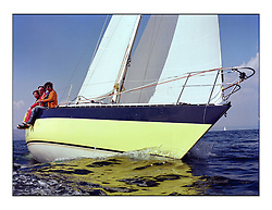 The Clyde Cruising Club's 1977 Tomatin Trophy the first Scottish Series held at Tarbert Loch Fyne.  An overnight race from Gourock to Campbeltown then on to Olympic Triangles in Loch Fyne. ..Another long running competitor to the Series, Alan Milton's Pepsi K1300.