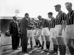 File photo dated 05/05/56 of The Duke of Edinburgh shaking hands with Manchester City's Footballer of the Year Bert Trautmann, before the FA Cup final at Wembley, London. Prince Philip's final public engagement takes place on Wednesday, before he retires at the age of 96.