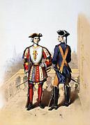 Member of the Guet Royal in 1700, right, and of the Provost Marshal's Guard of the Hotel  du Roi, 1788   'Histoire des corps de troupes de la ville de Paris' , 1887. France, Uniform, Chromolithograph
