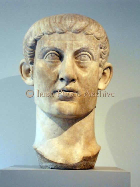 Marble portrait head of the Emperor Constantine I. Roman ca. A.D. 325–370