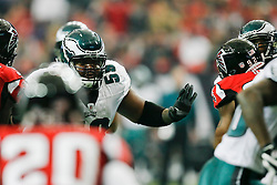 Philadelphia Eagles center Nick Cole #59 during the NFL game between the Philadelphia Eagles and the Atlanta Falcons on December 6th 2009. The Eagles won 34-7 at The Georgia Dome in Atlanta, Georgia. (Photo By Brian Garfinkel)