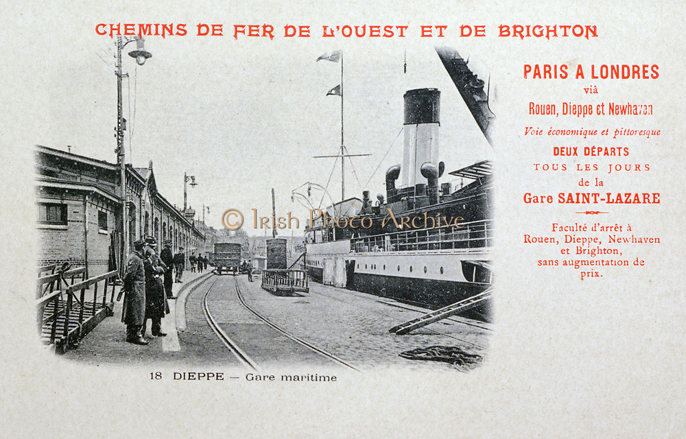 Paris-London boat train station at Dieppe, France. Steamer which carried train across the English Channel at the dockside. Postcard c1900. Transport Rail Marine International England France.