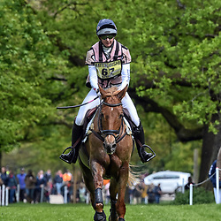 Georgie Spence Badminton Horse Trials Gloucester May 2019. Georgie Spence Equestrian eventing representing Great Britain riding Halltown Harley in the Badminton horse trials. Badminton Horse trials 2019 Winner Piggy French wins the title