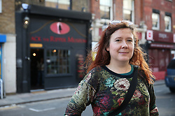 © Licensed to London News Pictures. 04/10/2015. London, UK. Community campaigner Jemima Broadbridge stands opposite the Jack the Ripper Museum after a planned protest was cancelled as organisers feared a large amount of arrests. Photo credit: Peter Macdiarmid/LNP