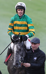 Front View and jockey Derek O'Connor after winning The Sanctuary Synthetics Flat Race during day one of the Punchestown Festival at Punchestown Racecourse, County Kildare, Ireland.