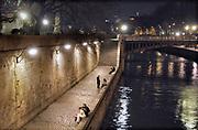Frankrijk, Parijs, 28-3-2015Langs de kade van de Seine bij avond. Exterieur.Foto: Flip Franssen