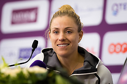 February 13, 2019 - Doha, QATAR - Angelique Kerber of Germany talks to the media after winning her second-round match at the 2019 Qatar Total Open WTA Premier tennis tournament (Credit Image: © AFP7 via ZUMA Wire)