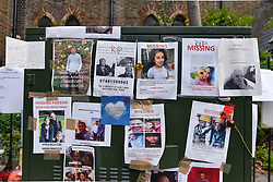 © Licensed to London News Pictures. 23/06/2017. London, UK. Missing persons signs are seen on outside a nearby community centre.  Nine days on, police have reported that the Grenfell Tower fire in west London started in a fridge-freezer, and outside cladding and insulation failed safety tests. Photo credit : Stephen Chung/LNP