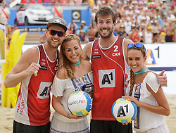 31.07.2016, Strandbad, Klagenfurt, AUT, FIVB World Tour, Beachvolleyball Major Series, Klagenfurt, Herren, im Bild Chaim Schalk (1, CAN), Ben Saxton (2, CAN) // during the FIVB World Tour Major Series Tournament at the Strandbad in Klagenfurt, Austria on 2016/07/31. EXPA Pictures © 2016, PhotoCredit: EXPA/ Gert Steinthaler