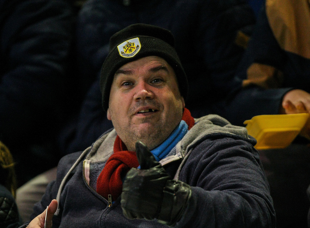 A Burnley fan<br /> <br /> Photographer Alex Dodd/CameraSport<br /> <br /> Football - The Football League Sky Bet Championship - Burnley v Nottingham Forest- Tuesday 23rd February 2016 - Turf Moor - Burnley<br /> <br /> © CameraSport - 43 Linden Ave. Countesthorpe. Leicester. England. LE8 5PG - Tel: +44 (0) 116 277 4147 - admin@camerasport.com - www.camerasport.com