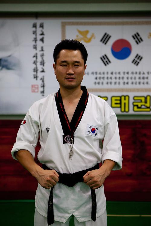 Daegu/South Korea, Republic Korea, KOR, 07.09.2010: Teacher at a Taekwondo school for children in Daegu. Taekwondo is a Korean martial art and the national sport of South Korea.