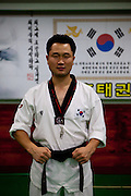 Daegu/South Korea, Republic Korea, KOR, 07.09.2010: Teacher at a Taekwondo school for children in Daegu. Taekwondo is a Korean martial art and the national sport of South Korea.