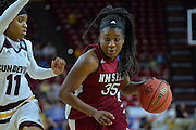 March 18, 2016; Tempe, Ariz;  New Mexico State Aggies guard Moriah Mack (35) drives past Arizona State Sun Devils guard Peace Amukamara (11) during a game between No. 2 Arizona State Sun Devils and No. 15 New Mexico State Aggies in the first round of the 2016 NCAA Division I Women's Basketball Championship in Tempe, Ariz. The Sun Devils defeated the Aggies 74-52.
