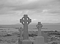 Celtic graveyard looking out to Aran Islands in Ireland
