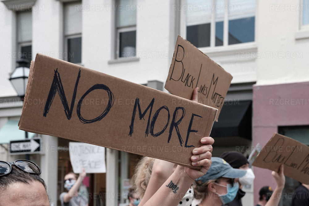 Black Lives Matter protest in Charleston, South Carolina on Saturday, May 30. 2020. Photo © Robert Zaleski / rzcreativeproductions.com<br /> —<br /> COPYRIGHT NOTICE:<br /> All images are protected by United States and International copyright laws and may not be reproduced, distributed, transmitted, displayed, published or broadcast in any way for any reason without the prior written permission of Robert Zaleski. You may not alter or remove any trademark, copyright or other notice from copies of the content contained here within.