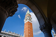 Campanile San Marco (St Mark's Basilica bell tower) from the Doge's Palace, Venice, Veneto, Italy