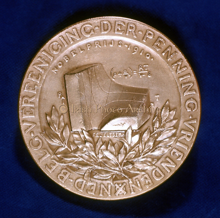 Johannes Diderik Van Der Waals (1837-1923) Dutch physicist. Nobel prize for physics 1910. 1873 equation defining physical state of gas or liquid represented here. Reverse of commemorative medal.