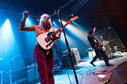 © Licensed to London News Pictures. 08/03/2014. London, UK.   Dark Bells performing live at Shepherds Bush Empire, supporting headliner Temples.   In this picture - Teneil Throssell (left), Ash Moss (right).  Photo credit : Richard Isaac/LNP