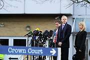 "WikiLeaks founder Julian Assange speaks, flanked by his lawyers Mark Stephens (L) and Jennifer Robinson (R), after his extradition hearing at Belmarsh Magistrates' Court in London February 11, 2011. A lawyer for Assange accused Sweden's prime minister on Friday of damaging his client's chances of a fair trial for alleged sex crimes by portraying him as ""public enemy number one""."