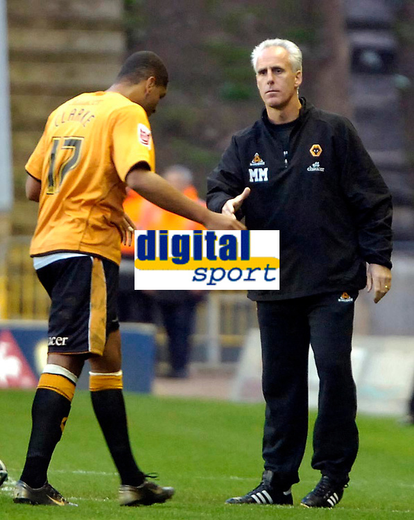 Photo: Ed Godden.<br /> Wolverhampton Wanderers v Southend United. Coca Cola Championship. 04/11/2006. Wolves' Manager Mick McCarthy (R) shakes the hand of Leon Clarke, the scorer of 2 of Wolves' goals.