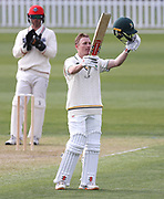 Bayley Wiggins of CD celebrates his 100. Canterbury vs. Central Districts Day 1, 1st round of the 2021-2022 Plunket Shield cricket competition at Hagley Oval, Christchurch, on Saturday 23rd October 2021.<br /> © Copyright Photo: Martin Hunter/ www.photosport.nz