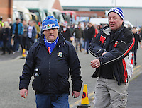 Blackburn Rovers fans arrive ahead of todays match<br /> <br /> Photographer Kevin Barnes/CameraSport<br /> <br /> Football - The FA Cup Fifth Round - Blackburn Rovers v Stoke City - Saturday 14th February 2015 -  Ewood Park - Blackburn<br /> <br /> © CameraSport - 43 Linden Ave. Countesthorpe. Leicester. England. LE8 5PG - Tel: +44 (0) 116 277 4147 - admin@camerasport.com - www.camerasport.com