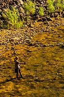 A woman flyfishing in the Virgin River near Rockville, Utah USA.