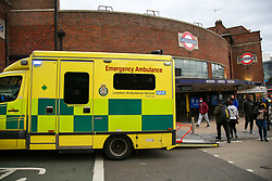 © Licensed to London News Pictures. 08/10/2020. London, UK. An ambulance outside Wood Green underground station  in north London, following a person under the train. Photo credit: Dinendra Haria/LNP