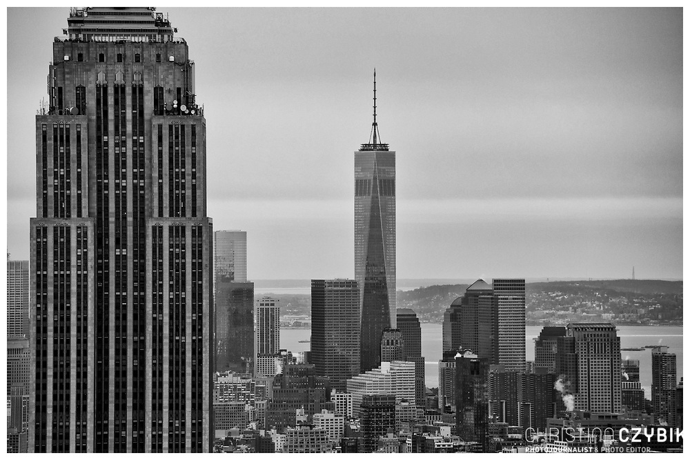 View on the Empire State Building and One World Trade Center from the Rockefeller Center Observation Deck Top of the Rock over Manhattan, New York