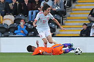 Bryan Gil Salvatierra of Spain (11) is tackled during the UEFA European Under 17 Championship 2018 match between Netherlands and Spain at the Pirelli Stadium, Burton upon Trent, England on 8 May 2018. Picture by Mick Haynes.