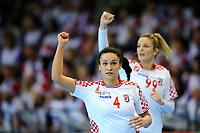 Håndball , Kvinner , EM-Kvalifisering , Kvalifisering til EM ,<br /> 25.03.2018 , 20180325<br /> Norge - Kroatia<br /> Valentina Blaze , Aneta Benko - Kroatia <br /> Foto: Sjur Stølen / Digitalsport