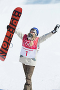 Anna Gasser, Austria, during the womens snowboard big air final at the Pyeongchang 2018 Winter Olympics on 22nd February 2018, at the Alpensia Ski Jumping Centre in Pyeongchang-gun, South Korea