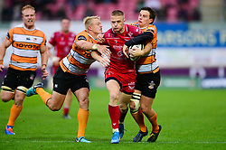 Johnny McNicholl of Scarlets is tackled - Mandatory by-line: Dougie Allward/JMP - 02/11/2019 - RUGBY - Parc y Scarlets - Llanelli, Wales - Scarlets v Toyota Cheetahs - Guinness PRO14