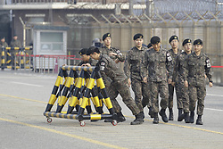 April 27, 2018 - Paju, Gyeonggi, South Korea - South Korean Military moving to barricade for president visit at unification bridge in Paju, South Korea. South Korean President Moon and North Korean leader Kim will hold a historical summit in Panmunjom. (Credit Image: © Ryu Seung-Il via ZUMA Wire)