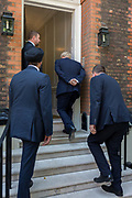 On the day that the Conservative Party elects its leader and the countrys Prime Minister, Boris Johnson, surrounded by close protection police officers, returns to the property of Great College Street that he and his campaign team have been using courtesy of Sky TV executive Andrew Griffith after the result at the QE2 Centre nearby, on 23rd July 2019, in Westminster, London, England.