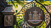 Coat of arms at Hulihee Palace, Kailua-Kona, Hawaii, USA