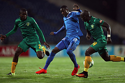 Evans Rusike of Maritzburg Utd is tackled by Siyabonga Dube of Golden Arrows during the 2016 Premier Soccer League match between Maritzburg Utd and Golden Arrows held at the Harry Gwala Stadium in Pietermaritzburg, South Africa on the 28th October 2016<br /> <br /> Photo by:   Steve Haag / Real Time Images