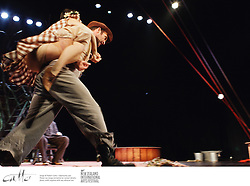 Cast of Kneehigh Theatre's show The Wild Bride rehearse on stage at the Opera House, Wellington for the New Zealand International Festival of the Arts 2012.