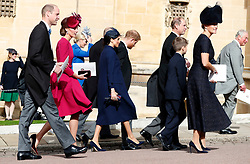 The Duke and Duchess of Cambridge, the Duke and Duchess of Sussex, the Earl and Countess of Wessex and the Prince of Wales walk back following the wedding of Princess Eugenie and Jack Brooksbank in St George's Chapel, Windsor Castle.