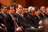 """04 MAY 2004, BERLIN/GERMANY:<br /> Dr. Christoph Bertram, Geschaaeftsf. Vorsitzender Stiftung Wissenschaft und Politik, Franz Muentefering, SPD Parteivorsitzender, Helmut Schmidt, SPD, Bundeskanzler a.D., Loki Schmidt, Valery Giscard d´Estaing, Praesident des Europaeischen Konvents, (v.L.n.R.), 8. Internationale Wirtschaftstagung 2004 der SPD unter dem Motto: """"Europa 2010: Wachstumsmotor fuer die Weltwirtschaft?"""", axica Tagungszentrum<br /> IMAGE: 20040504-01-028<br /> KEYWORDS: Gerhard Schröder, Valéry Giscard d´Estaing"""