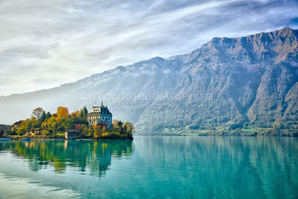 Iseltwald, Switzerland sits right on lake Brienzersee in the central part of Switzerland