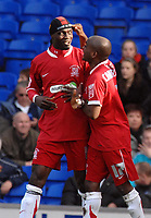 Photo: Ashley Pickering.<br />Ipswich Town v Southend United. Coca Cola Championship. 10/03/2007.<br />Jamal Campbell-Ryce points to the slogan on Efe Sodje's headband, which reads 'against all odds' as they celebrate victory over Ipswich