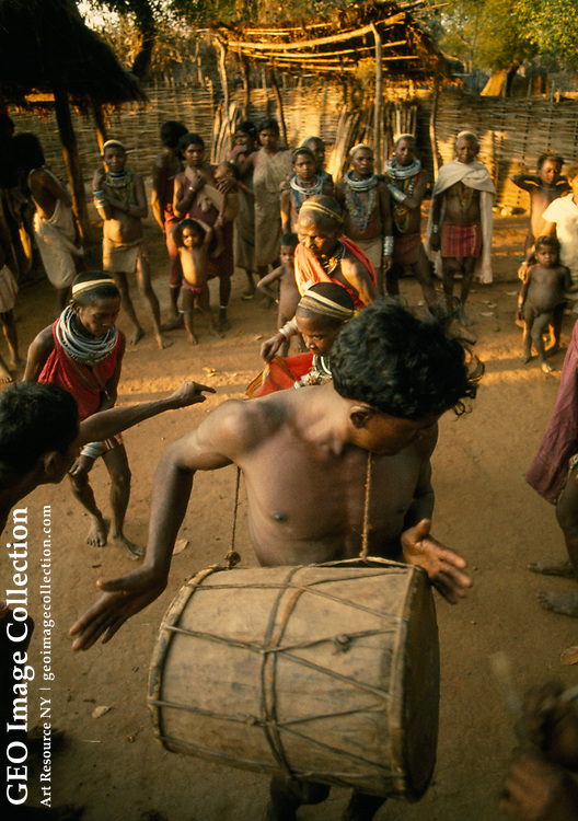 Bonda tribespeople dance to celebrate visitors to their village.