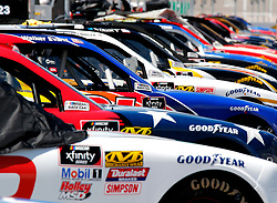 September 1, 2018 - Darlington, SC, U.S. - DARLINGTON, SC - SEPTEMBER 01: cars lined up on pit road prior to the running of the 36th annual Sport Clips Haircuts VFW 200 on Saturday September 1, 2018 at Darlington Raceway in Darlington South Carolina (Photo by Jeff Robinson/Icon Sportswire) (Credit Image: © Jeff Robinson/Icon SMI via ZUMA Press)