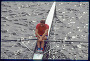 Chiswick, London,  Scullers at the start,  Steve REDGRAVE,  of the 1991 Scullers Head of the River Race,  Chiwick Bridge, raced over the reversed Championship, Mortlake to Putney  [Mandatory Credit. Peter Spurrier/Intersport Images] 1991 Scullers Head of the River Race, London